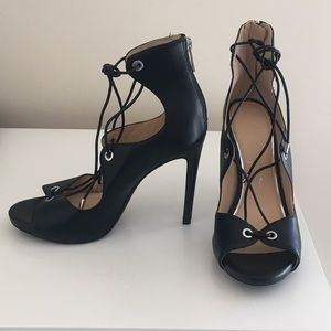 Jessica Simpson Black Strap Tie Pumps